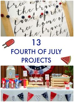 Who& ready for fireworks and barbecues? It might seem early, but the Fourth of July is just a month and a half away! Here are 13 Fourth of July Projects! Fourth Of July Food, 4th Of July Celebration, 4th Of July Party, July 4th, Patriotic Crafts, Patriotic Party, Patriotic Decorations, Lollipop Centerpiece, Happy B Day