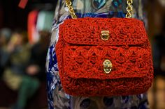 dolce gabbana red crochet bag mini