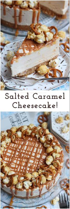 No-Bake Salted Caramel Cheesecake! A delicious No-Bake Cheesecake packed full of a Salted Caramel Cheesecake filling with Pretzels & Popcorn! No-Bake Salted Caramel Cheesecake! A delicious No-Bake Cheesecake packed full of a Salt Easy Cheesecake Recipes, Delicious Cookie Recipes, Baking Recipes, Delicious Food, Homemade Cheesecake, Köstliche Desserts, Dessert Recipes, Dessert Blog, Health Desserts