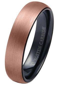 6mm 18k Rose Gold Tungsten Carbide Rings Wedding Band Brushed Black