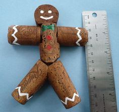 Wine Cork Gingerbread Man Christmas Ornament by Shadetreecarvings by Damian Pelser Wine Craft, Wine Cork Crafts, Wine Bottle Crafts, Wine Cork Ornaments, Christmas Tree Ornaments, Christmas Crafts, Snowman Ornaments, Christmas Decorations, Crafts To Do