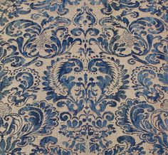 Fabric Swatch for Lounge Chair Fortuny inspired Brocade Curtain Patterns, Textile Patterns, Print Patterns, Papier Paint, Fabric Wallpaper, Vintage Textiles, White Decor, Blue And White, Tapestry