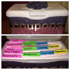 DIY Coupon organizer made out of baby wipe container, covered in glitter with mod podge/decorations. Inside tabs are made of index cards #diy #coupon #glitter #babywipes #organization #savingmoney Recycling Containers, Container Organization, Coupon Organization, Organization Hacks, Reuse Formula Containers, Organizing Tips, All You Need Is, Baby Wipes Container, Diy Recycle
