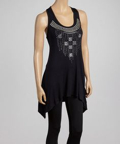 Take a look at this Black & Silver Studded Sidetail Top by Sweet Girl on #zulily today!