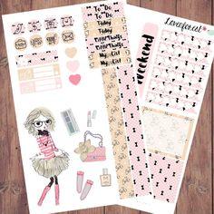 Clair fashion girl planner stickers, erin condren planner stickers, happy planner stickers, planner sticker kit, cute planner stickers MK014