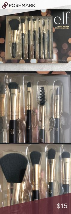 "E.L.F. 7 Piece Brush collection. Black & Gold Brand new in box ELF cosmetics 7 piece brush set. Comes with one of each : complexion brush, flawless concealer brush, blending brush, eyeshadow ""c"" brush, small angled brush, lash & brow brush, and lip defining brush. Black handles with gold metal and black brushes. Feel free to ask questions or bundle to save! Thanks for shopping! ELF Makeup Brushes & Tools"