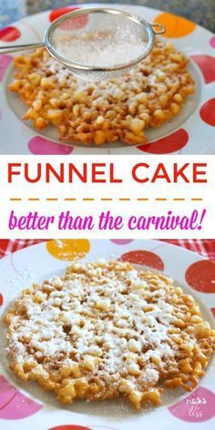 Do you love the funnel cake that you get during the carnival? Do it at home with this simple funnel cake recipe! Do you love the funnel cake that you get during the carnival? Do it at home with this simple funnel cake recipe! Delicious Cake Recipes, Homemade Cake Recipes, Yummy Cakes, Yummy Food, Fun Recipes, Cocoa Recipes, Yummy Snacks, Pork Recipes, Funnel Cake Recipe Easy