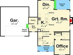 Modern Farmhouse for the Modern Family - floor plan - Main Level Country House Plans, Best House Plans, Dream House Plans, Small House Plans, House Floor Plans, Modern Farmhouse Plans, Farmhouse Ideas, Small Cottage Homes, Family Room Design