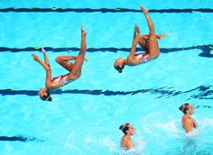 France competes in the Synchronized Swimming Team Technical preliminary round on day one of the 15th FINA World Championships at Palau Sant Jordi on July 20, 2013 in Barcelona, Spain.