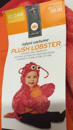 Infant Halloween Costume Plush Lobster Size 12 24 Months Attached Tail Headpiece | eBay