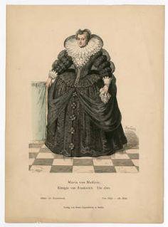 "Blatter Fur Kostumkunde Lipperheide Verlag No. 58-195, Plate 042. Fashion plates, 1790-1929. The Costume Institute Fashion Plates. The Metropolitan Museum of Art, New York. Gift of Lee Simonson (b17509853)   The caption reads ""Maria von Medicis...um 1610."" #fashion"