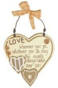♥ Country Natural Wooden Rustic Love Heart Hanger Choice of 3 Wording. New ♥  Visit our family business...The Ginger Sheep £7.99