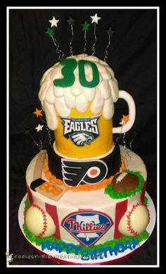 Philadelphia Phillies, Flyers, and Eagles Sports Team Cake