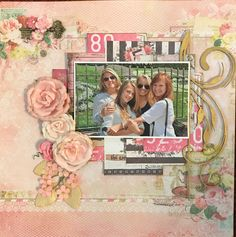 Disneyland layout using Blue Fern Studios Frolic Collection and Prima Marketing Rossibelle postcards and flowers