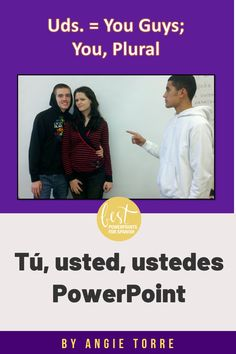 "Even my AP Spanish students struggle to differentiate between, Tú, usted, and ustedes.  Start early to model the differences. This Preguntas Tú, Usted, Ustedes PowerPoint teaches the difference between the informal, formal and plural forms of ""you"" and how to ask and answer questions using each form. It does not include, ""vosotros"" or ""vos"". The formal teaching of these questions greatly enhances novice students' ability to communicate in the target language.  Check it out! Spanish Grammar, Ap Spanish, Grammar And Vocabulary, Spanish Lessons, French Teacher, Student Engagement, Interactive Notebooks, Student Learning, Lesson Plans"
