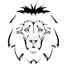 Oroszlán fej. tetoválás Vektor Grafikák