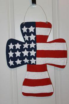 American Flag Cross Burlap Door Hanger by KeepOnTruckingDesign, $25.00