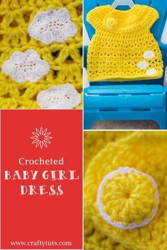 crochet baby dress with free pattern for the dress and cloud applique.