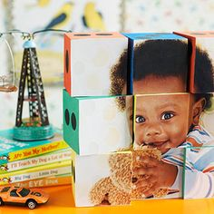 Kid Grid - Print your photograph onto sticker-backed photo paper, cut it into squares, attach to blocks, and voila -- a homemade baby toy and a great kids decor idea! Discover more kids room decorating and organizing tips and ideas @ http://kidsroomdecorating.net