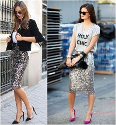 Both of these looks are super fun! Casual phrase T-shirt loosely tucked and a fun shoe or a fun cropped jacket, balances out the formal ness of sequins. Fashion Days, Look Fashion, Skirt Fashion, Autumn Fashion, Fashion Outfits, Womens Fashion, Sequin Skirt Outfit, Skirt Outfits, Silver Sequin Skirt