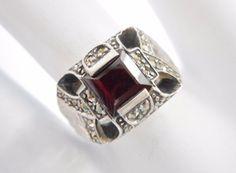 Vintage Sterling Silver Princess Cut Garnet & Marcasite Ring Sz 7  #1982…