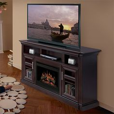 Bailey Espresso Electric Fireplace Entertainment Center with Glass Embers  http://www.electricfireplacesdirect.com/products-accessories/TV-media-consoles/Dimplex-Bailey-Espresso-Electric-Fireplace-Media-Console-Glass-Embers
