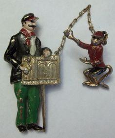Vintage Enamel Organ Grinder Monkey Fur Clip Brooch EARLY Figural MAN Dress Clip   eBay, $293.25