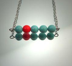 SIMPLICITY elegant bar necklace turquoise blue van deBATjes op Etsy