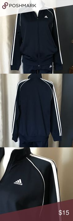 Navy Adidas jacket. READ DESCRIPTION Zip front Adidas jogging track jacket in Navy. White stripes.   I'm guessing these are boys. My Mom is really petite and can easily fit into kids clothes. These are size large but definitely not an adult large.   Have matching pants. Will sell separately or together for a great price. adidas Jackets & Coats