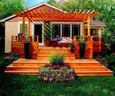 Small wood deck design patio deck pool design small back porch deck design exterior decks and design simple backyard deck design outdoor deck design ideas 2018 Br House, Tiny House, Gazebos, Arbors, Cedar Pergola, Pergola Kits, Deck Pergola, Deck Stairs, Cedar Deck
