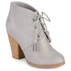 Womens Journee Collection Womens Faux Suede Lace-up Ankle Booties ($49) ❤ liked on Polyvore featuring shoes, boots, ankle booties, grey, lace up booties, journee collection boots, laced boots, grey ankle booties and gray boots
