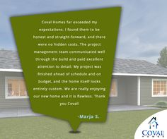 Coval Homes a top Northwest custom house builder striving to build a dream house for your family with energy efficient home plans to build on your lot in Pierce County, Kitsap County, Thurston County, Mason County in Washington State Energy Efficient Homes, Energy Efficiency, Custom Home Builders, Custom Homes, Mason County, Home Quotes And Sayings, Budgeting, Thankful, It Is Finished