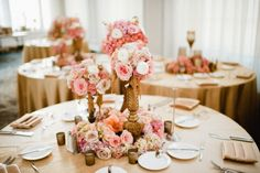 Gorgeous pink and gold tablescape by Design House