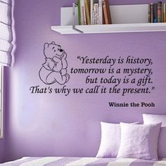 "Fungoo large winnie the pooh wall quote art sticker ""Yesterday is history,tomorrow is a mystery,but today is a gift,That's why we call it present"" nursery wall saying decal art lettering for baby kids bedroom decor vinyl wallpaper gift - 78cmW x 40cmH, http://www.amazon.co.uk/dp/B00D7GDH1S/ref=cm_sw_r_pi_awd_kDsEsb1E17ES1"