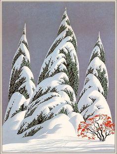Winter scenes by Eyvind Earle (whose Disney concept art I've featured before). Landscape Illustration, Landscape Art, Illustration Art, Landscape Prints, Eyvind Earle, Disney Concept Art, Art Graphique, Art For Art Sake, Winter Scenes