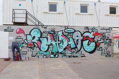 Brighton street art | graffiti: Radios at the i360 (2014)