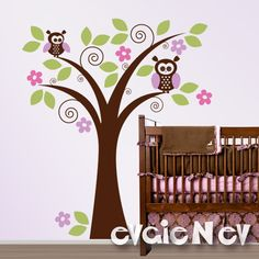 Children Wall Decal Wall Sticker Cute Owls on Tree by evgieNev, $85.00