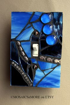 Deep Blue  Oversized Mosaic Light Switch Cover by MOSAICSnMORE, $17.95