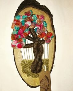 Árbol de la vida. Telar decorativo. Lana 100% natural de Oveja. Marco de Lenga #corazóndeoveja
