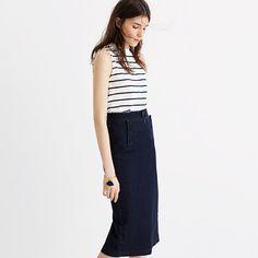 Denim Sailor Pencil Skirt