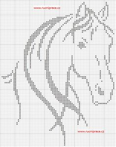 free counted cross stitch chart horse 76 by 97 stitches via http://free-cross-stitch.rucniprace.cz/horse-2-cross-stitch.php