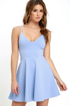 Your future love will never know what hit 'em when you stroll by in the Meet Cute Light Blue Skater Dress! Medium-weight stretch knit shapes a darted bodice with a V neckline, supported by skinny straps. Flaring, mini-length skirt. Hidden back zipper.