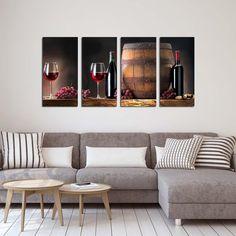 Τετράπτυχος πίνακας σε καμβά wine and barrel - Ninesix.gr