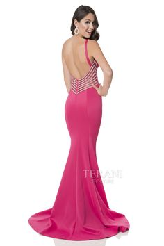 Neoprene trumpet prom gown with plunging v neckline and crystal embellished mesh insets at the sides and the back
