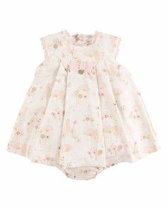 Z1PGL Pili Carrera Sleeveless Floral Lace-Trim Shift Dress, Ivory, Size 3M-2