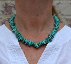 Chunky Turquoise Necklace by SeaSaltShop on Etsy, $30.00