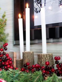 How to make bark candle holders for a rustic styled #holiday mantel>> http://www.hgtv.com/handmade/one-mantel-styled-three-ways-for-the-holidays/pictures/page-8.html?soc=pinterest
