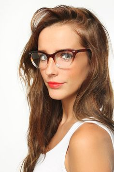'Emma' Gradient Frame Cat Eye Clear Glasses - Tortoise/Teal combo best (not in stock) Non magnifying?
