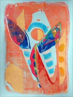 "Angel with Mosaic Wings, 9"" x 11"" mixed media on colored paper, 2011"