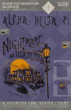 Alpha Delta Pi Halloween PR #BUonYOU #greek #greektshirts #greekshirts #sorority #alphadeltapi #nightmareonelmstreet #halloween